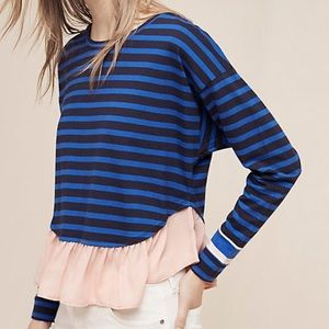 Anthropologie Deletta ruffled Rugby Striped top